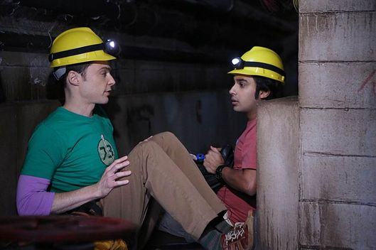 """The Expedition Approximation"" -- Sheldon (Jim Parsons, left) and Raj (Kunal Nayyar, right) test whether they could survive a dark-matter research expedition in a salt mine by simulating the conditions in a steam tunnel, on THE BIG BANG THEORY, Monday, Oct. 20."