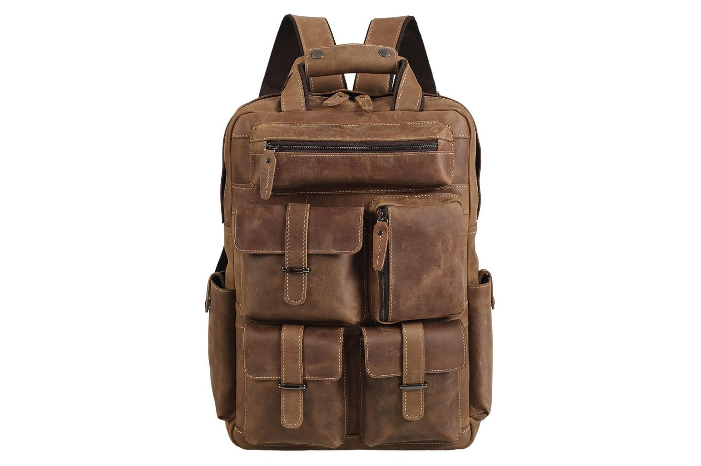 "Polare Handcrafted Leather Laptop Backpack (Fits 16-17"" Laptop)"