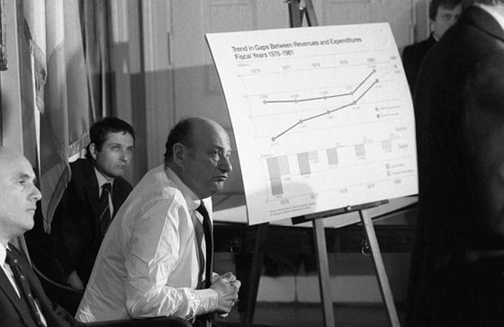 Circa 1980,  a press conference on year-end report on economic conditions the city.