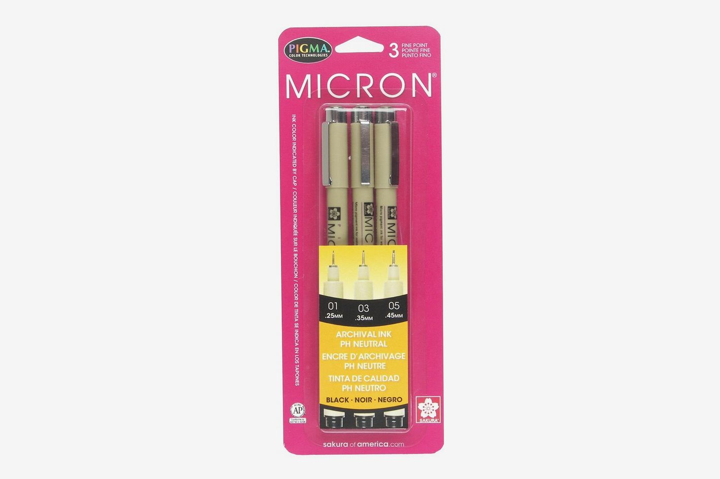 Sakura Pigma Micron Blister Card Ink Pen Set, 3 Assorted Sizes
