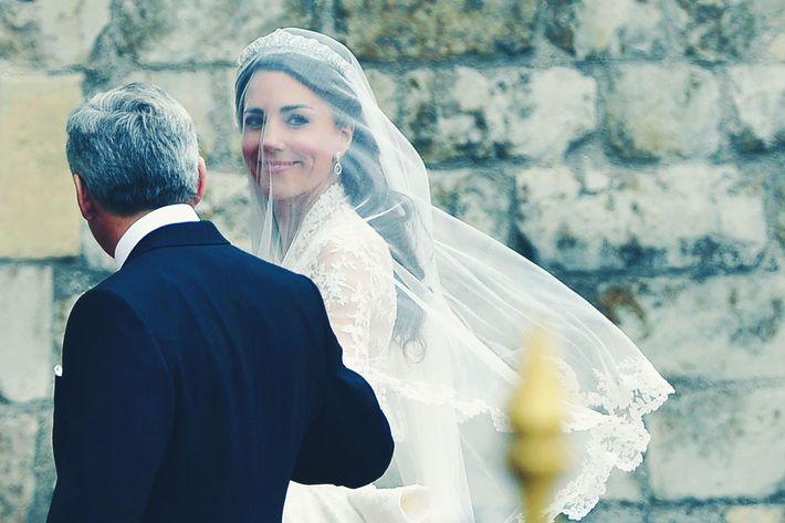 Kate Middleton on her wedding day in a tiara.
