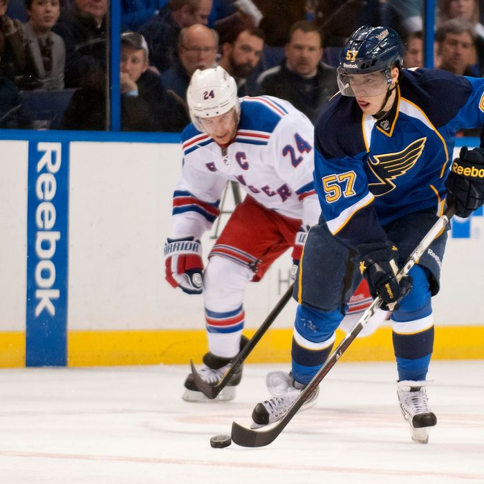 David Perron (57) of the St. Louis Blues breaks loose with the puck during the NHL regular season game between The New York Rangers vs The St. Louis Blues at Scott Trade Center in St. Louis MO. (Cal Sport Media via AP Images)