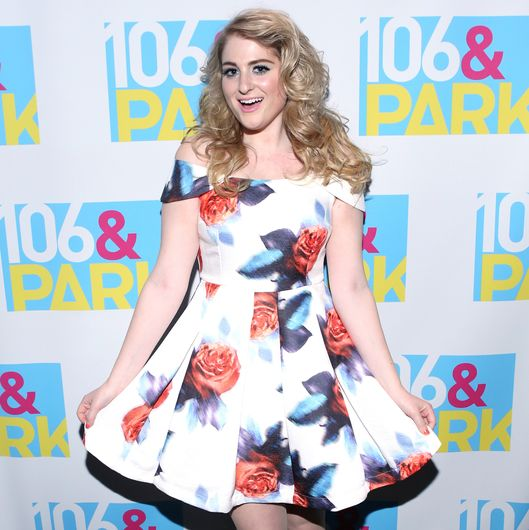 NEW YORK, NY - AUGUST 06:  Recording artist Meghan Trainor visits 106 & Park at BET studio on August 6, 2014 in New York City.  (Photo by Bennett Raglin/BET/Getty Images)