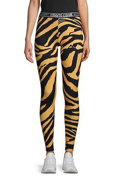 roberto cavalli SPORT Zebra-Print Stretch Cotton Leggings