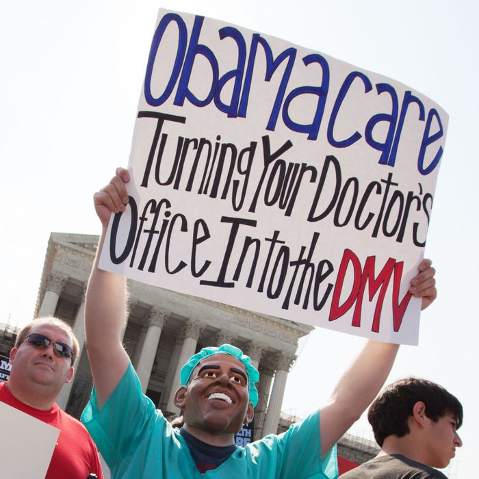 Obamacare supporters and protesters gather in front of the U