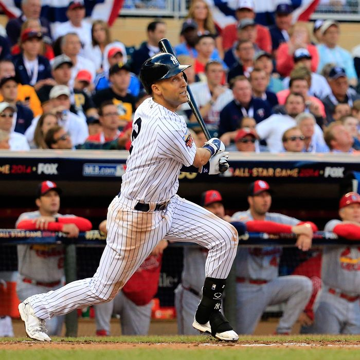 MINNEAPOLIS, MN - JULY 15: American League All-Star Derek Jeter #2 of the New York Yankees bats against the National League All-Stars during the 85th MLB All-Star Game at Target Field on July 15, 2014 in Minneapolis, Minnesota. (Photo by Rob Carr/Getty Images)