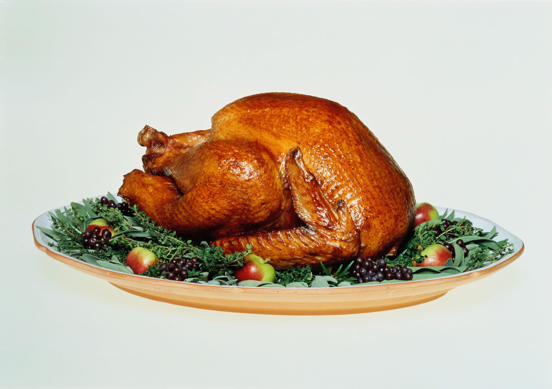 Roast turkey on serving dish