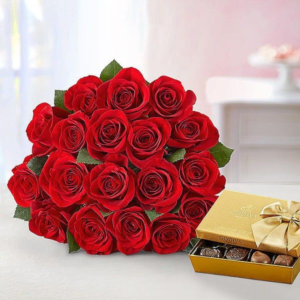 Red Roses Bouquet With Godiva Chocolate