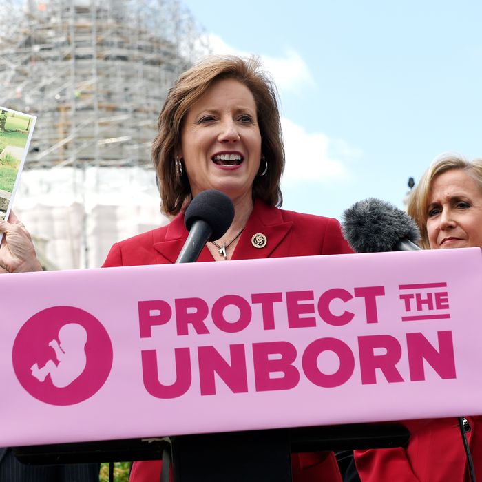 Rep. Vicky Hartzler, R-Mo., center, speaks during a news conference on the Pain-Capable Unborn Child Protection Act on Capitol Hill in Washington, May 13, 2015.