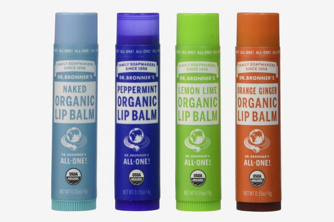 Dr. Bronner's Organic Lip Balm, Pack of 4