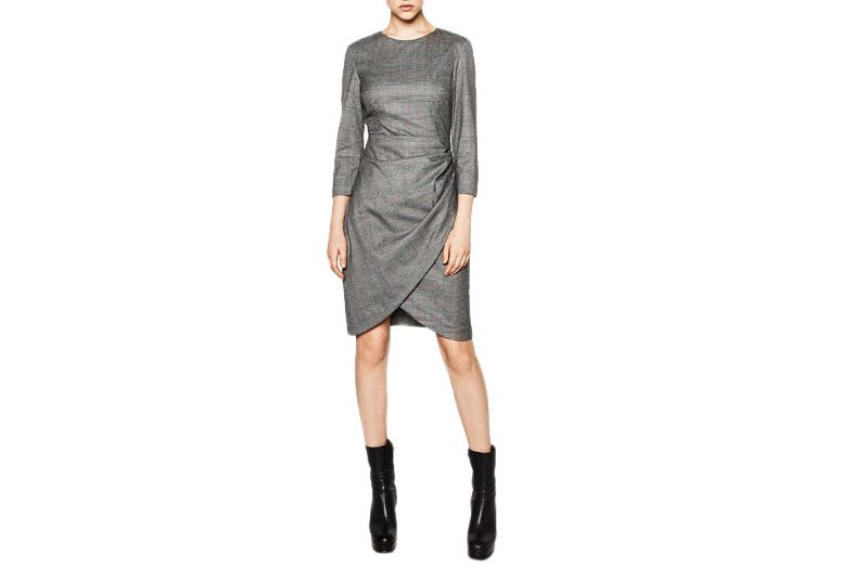 Zara checked dress with draped skirt