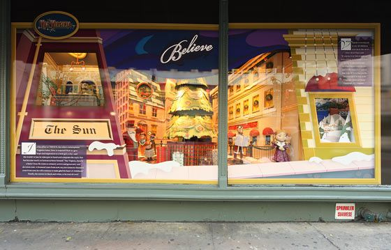 Ornaments in the Macy's windows are inspired by the wishes of fourteen designers and are (of course) for sale to benefit the Make-A-Wish foundation. Viewers can create their own ornaments via a touch-screen and watch them appear in the display.