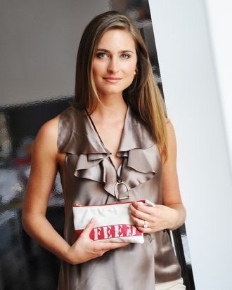 Lauren Bush with her FEED 15 bag.