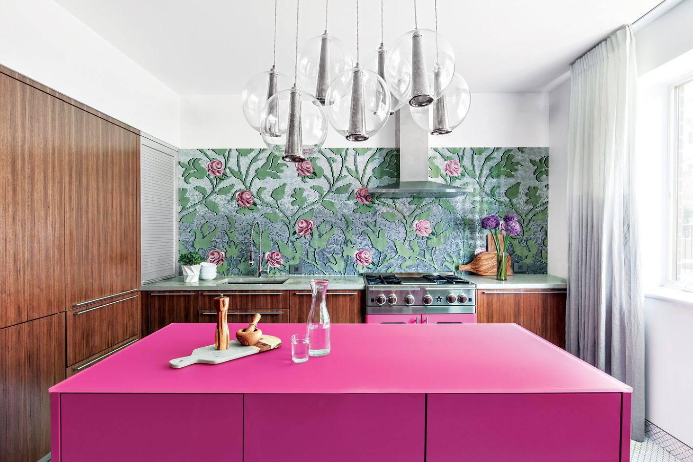 Peonies and Vines Led to a Kitchen With a Very Pink Center