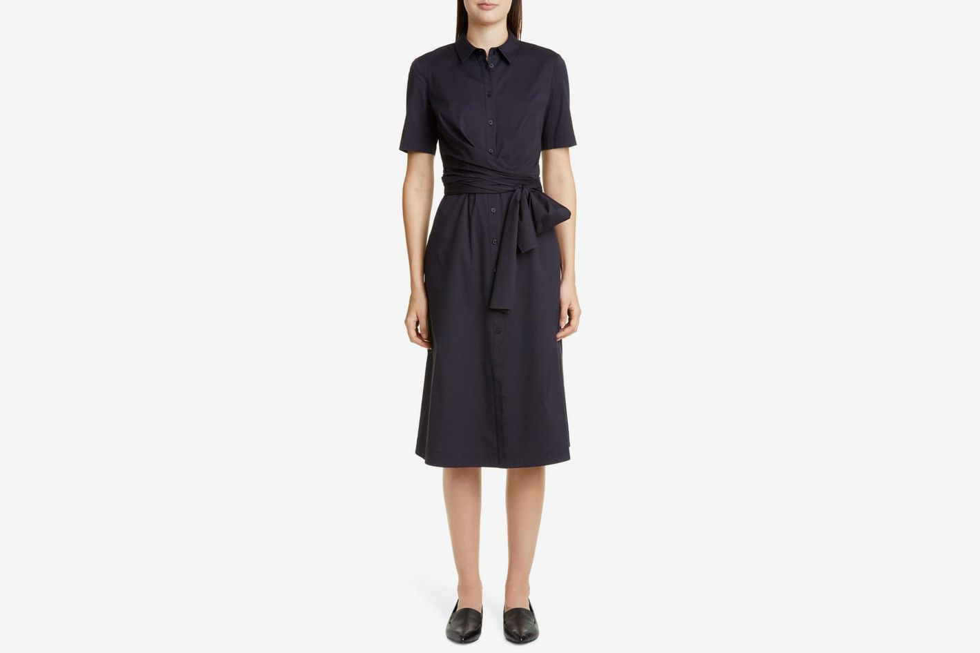 Lafayette 148 New York Wrenley Tie Front Shirtdress