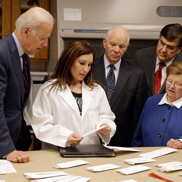 Joe Biden looks over a backlog of rape kits.