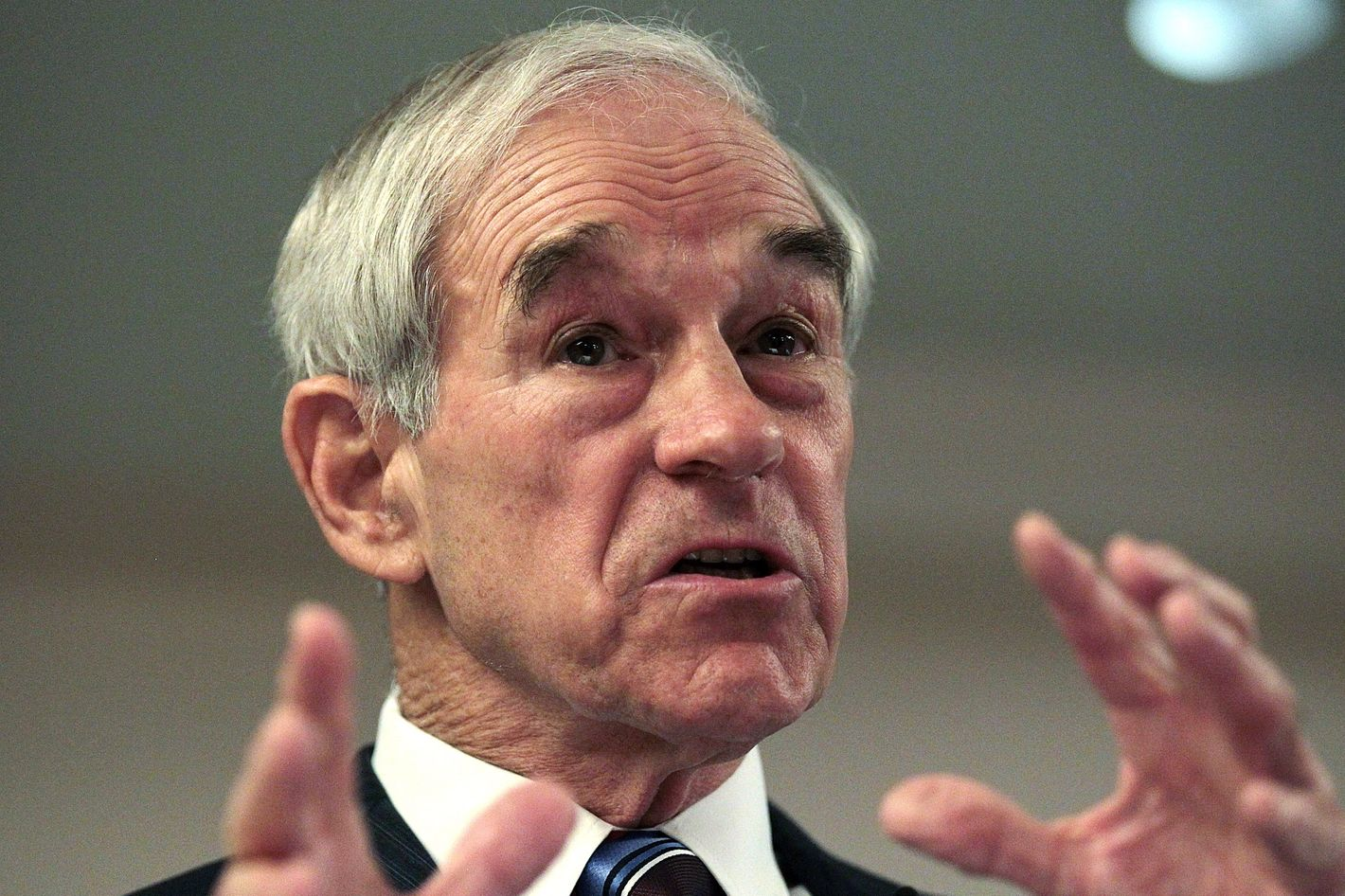 PERRY, IA - DECEMBER 29:  Presidential hopeful U.S. Rep Ron Paul (R-TX) speaks during a campaign event at the Pattee Hotel on December 29, 2011 in Perry, Iowa.  With less than one week to go before the Iowa caucuses, Ron Paul continues to campaign through Iowa.  (Photo by Justin Sullivan/Getty Images)