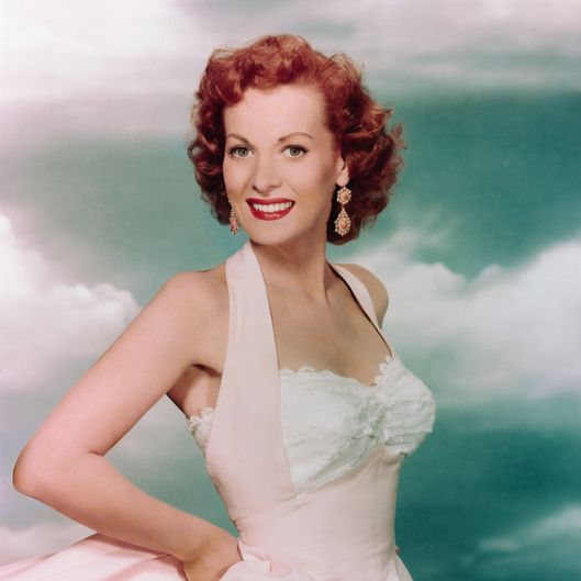 Maureen O'Hara Wearing a Pink Evening Gown