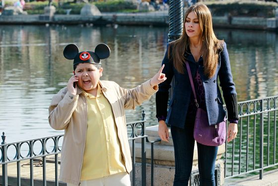 "MODERN FAMILY - ""Disneyland"" - Nothing is more quintessential to good ol' family fun than a trip to Disneyland -- but not without a side of motion sickness, achy feet and a wayward toddler -- when the Pritchett-Dunphy-Tucker clan hits the park! Phil tries to keep up with Luke, Claire's shocked when they run into Dylan, Jay and Gloria disagree about what are sensible shoes for the day, and Mitch and Cam must contain Lily's new affinity for running, on ""Modern Family,"" WEDNESDAY, MAY 9 (9:00-9:31 p.m., ET), on the ABC Television Network. (ABC/PETER ""HOPPER"" STONE) RICO RODRIGUEZ, SOFIA VERGARA"