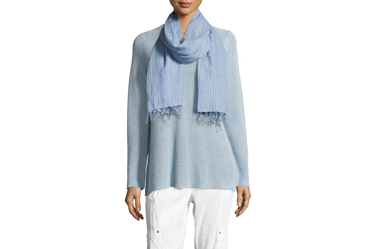 Eileen Fisher Hand-Loomed Organic Cotton Checkerboard Scarf