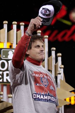 ST LOUIS, MO - OCTOBER 28:  Manager Tony La Russa of the St. Louis Cardinals celebrates after defeating the Texas Rangers 6-2 in Game Seven of the MLB World Series at Busch Stadium on October 28, 2011 in St Louis, Missouri.  (Photo by Charlie Riedle-Pool/Getty Images)