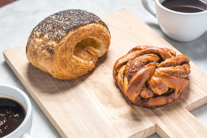 Tebirke and kanelsnurre — a cinnamon bun done in a twist, made with organic flour and filled with a mixture of butter, sugar, and cinnamon.