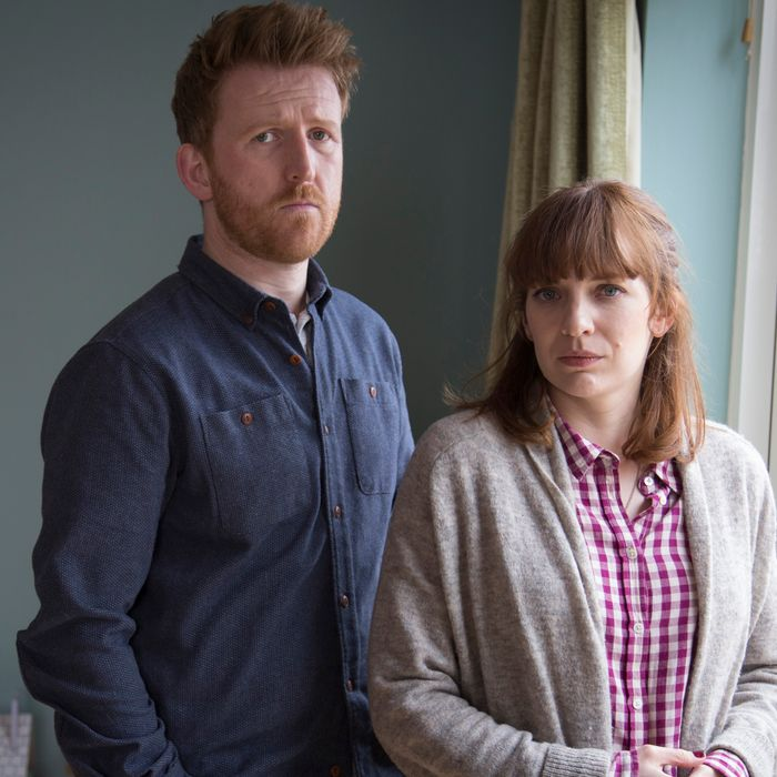 Tom Goodman Hill as Joe Hawkins and Katherine Parkinson as Laura Hawkins - Humans _ Season 1, Episode 8 - Photo Credit: Gary Moyes/Kudos/AMC/C4