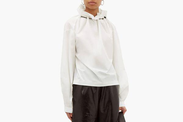 Toga Ruffled-neck taffeta blouse