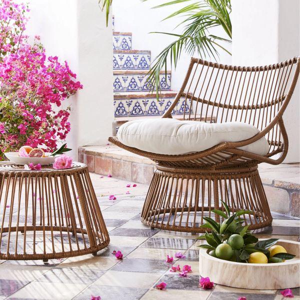 Opalhouse Borealis 2pc Patio Papasan Chair & Ottoman Set
