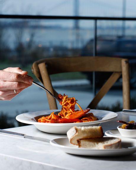 Spaghetti All Aragosta With A Side Of The Verrazzano Bridge Photo Melissa Hom