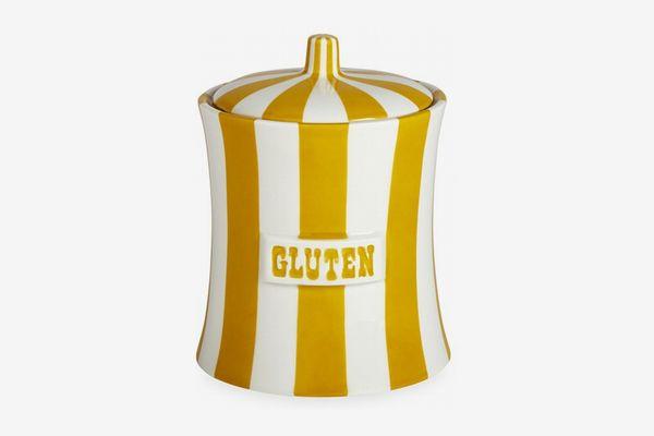 Jonathan Adler Gluten Mustard/White Vice Canister