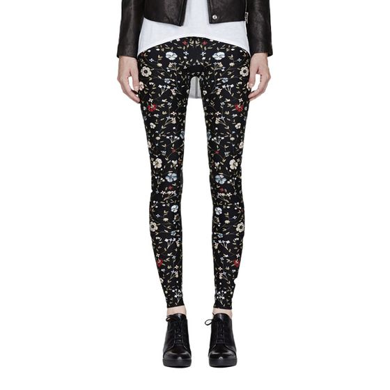 "Black jewel flower-print legging, <a href=""http://www.ssense.com/women/product/alexander_mcqueen/black_jewel_flower_print_legging/84644?utm_source=2178999&utm_medium=affiliate&utm_campaign=generic&utm_term=11131141"">$411, originally $685</a>."