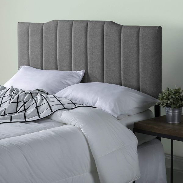 Zinus Satish Upholstered Channel Stitched Headboard in Grey