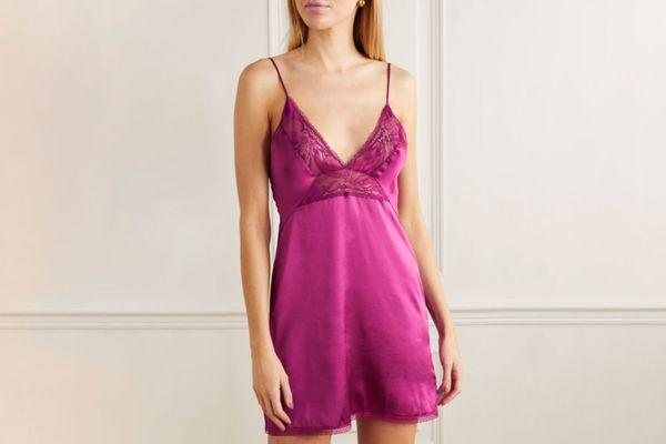 Calvin Klein Underwear Lace-paneled satin chemise