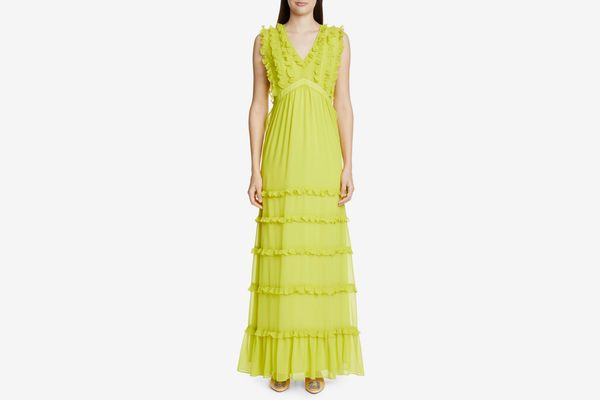 Badgley Mischka Sleeveless Ruffle Gown