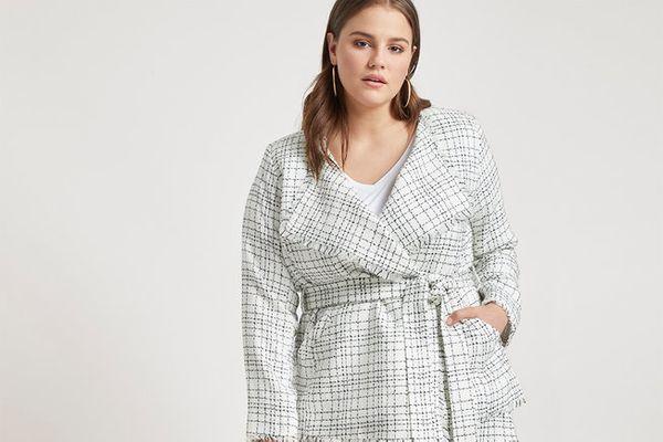 Eloquii Tie Waist Tweed Jacket