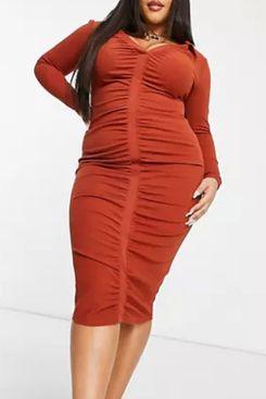 ASOS DESIGN Curve Shirt Ruched Front Midi Dress