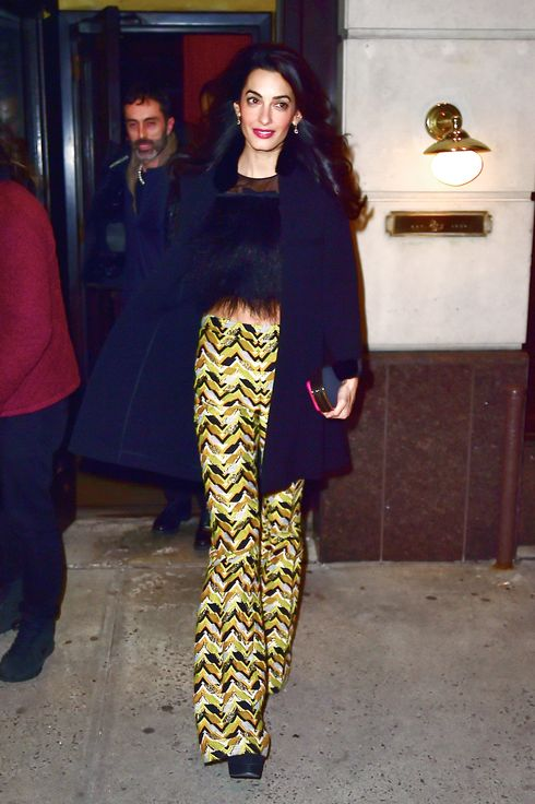 Amal Clooney Wore A Fur Crop Top To Dinner The Cut