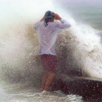 A wave cause by the storm surge of Hurricane Jeanne breaks over a seawall as a man stands on it September 26, 2004 in St. Petersburg, Florida.