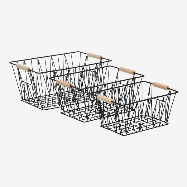 Amazon Basics Large Wire Storage Baskets (Set of 3)