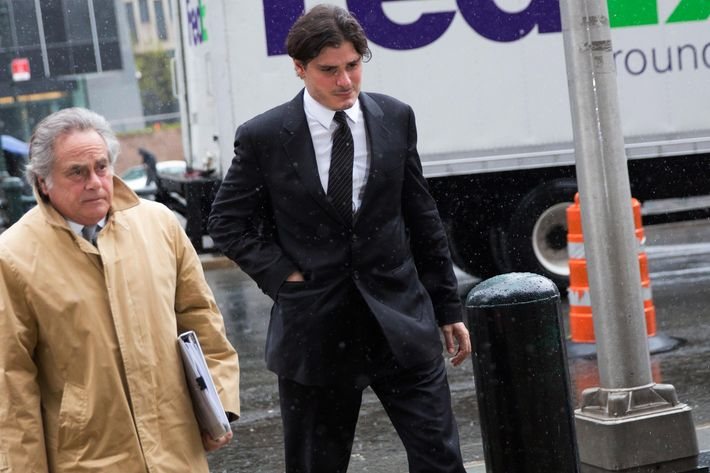 Art gallery owner Hillel Nahmad (R) arrives with his lawyer Benjamin Brafman at the Manhattan Federal Court house in New York April 30, 2014. Nahmad will be sentenced for his involvement in an international gambling ring.