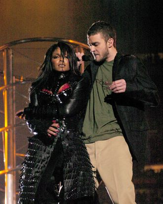 Janet Jackson and Justin Timberlake during The AOL TopSpeed Super Bowl XXXVIII Halftime Show Produced by MTV at Reliant Stadium in Houston, Texas, United States. (Photo by KMazur/WireImage)