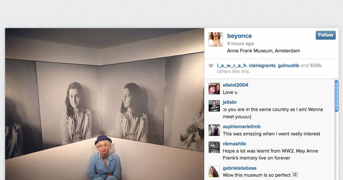 Beyoncé Visits the Anne Frank House — Tactfully -- The Cut