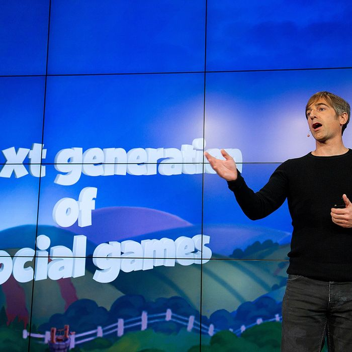 Mark Pincus, chairman and chief executive officer of Zynga Inc., speaks during an event at Zynga Inc. headquarters in San Francisco, California, U.S., on Tuesday, June 26, 2012. Zynga Inc. introduced a social-networking service designed to make it easier for users to play online games across different mobile devices and existing sites.