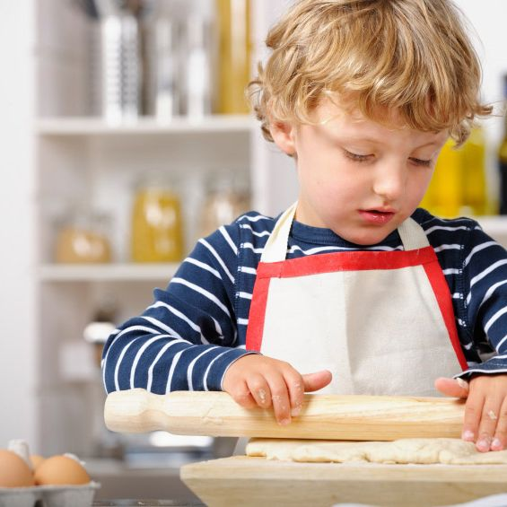 Check out little dude's rolling-pin skills!