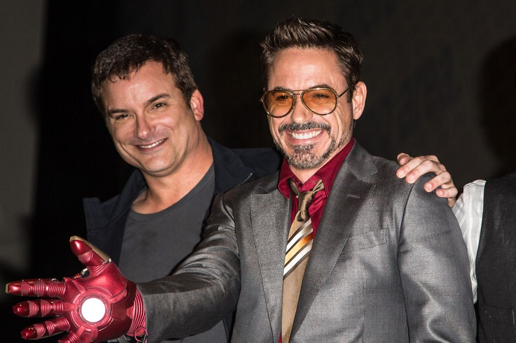 "Director Shane Black, actor Robert Downey, Jr. and actor Don Cheadle attend the ""Iron Man 3"" panel at San Diego Convention Center on July 14, 2012 in San Diego, California."