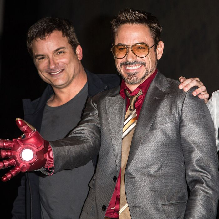 Director Shane Black, actor Robert Downey, Jr. and actor Don Cheadle attend the