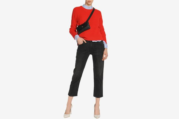 Acne Studios Cropped Mid-Rise Straight Leg Jeans