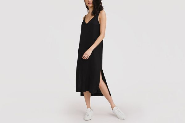 Grana Chinese Silk V-Neck Slip Dress