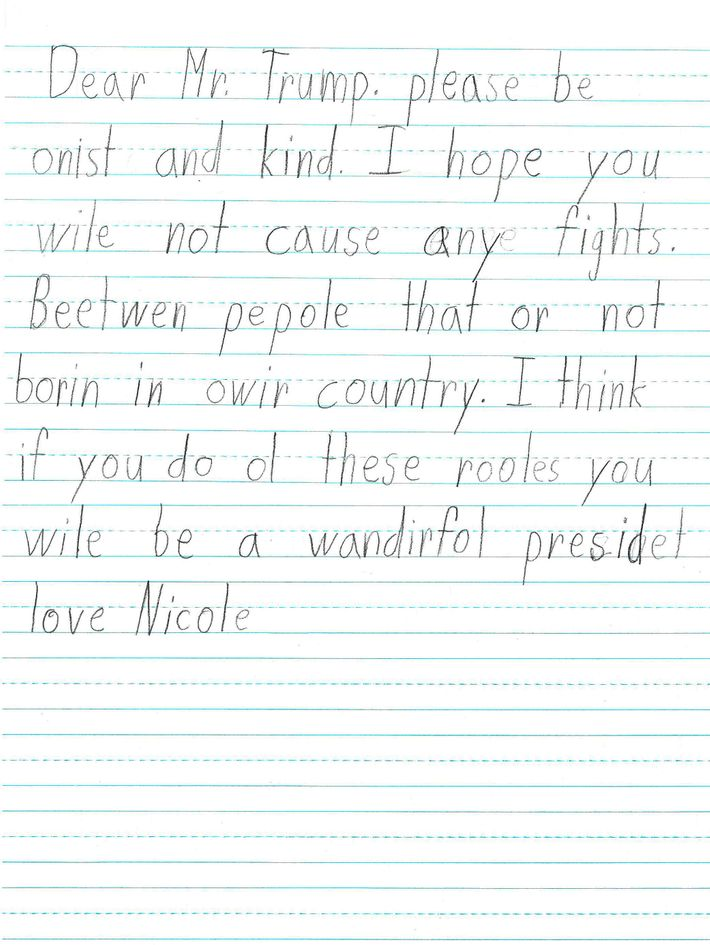 First Grade Students Wrote These Letters to Donald Trump